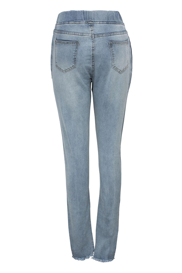 Lovely Casual Broken Hole Baby Blue Jeans