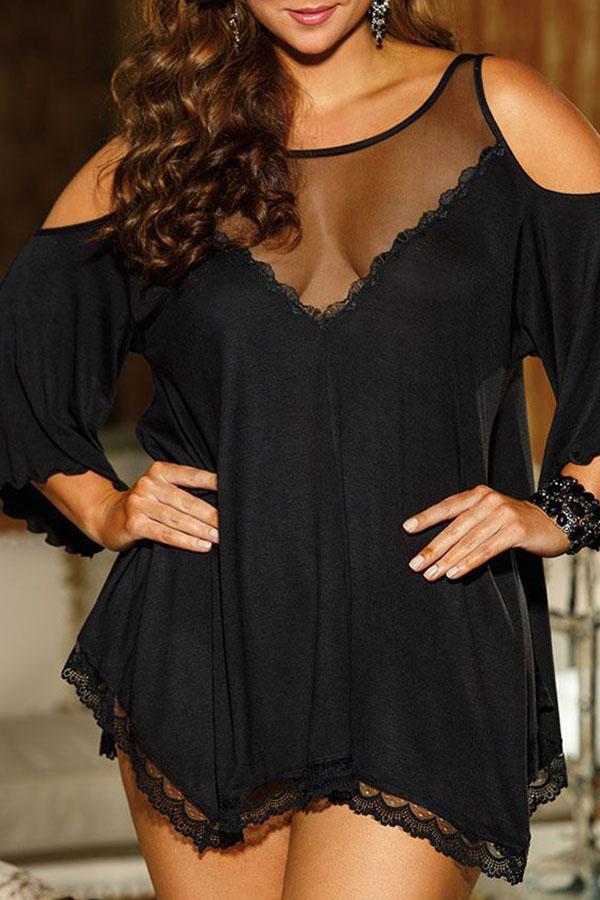 Lovely Casual Asymmetrical Black Plus Size Mini Dress
