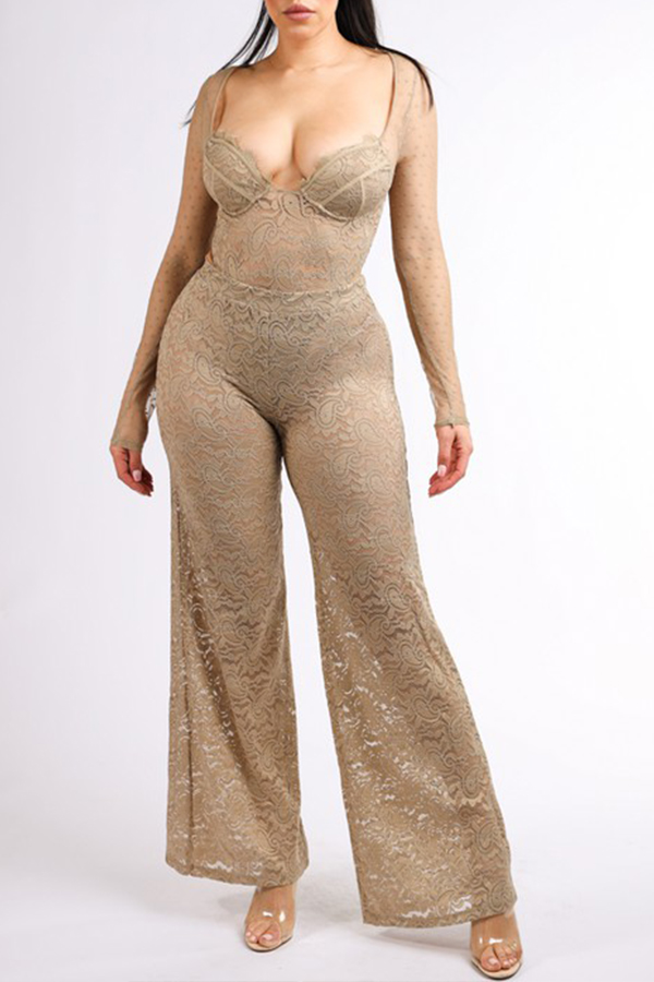 Lovely Chic Lace Skin Color Two-piece Pants Set
