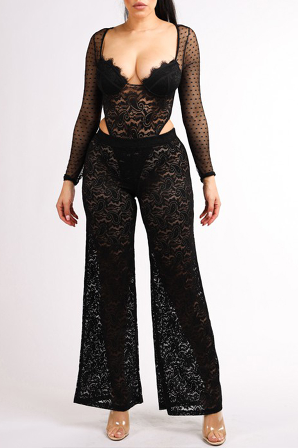 Lovely Chic Lace Black Two-piece Pants Set