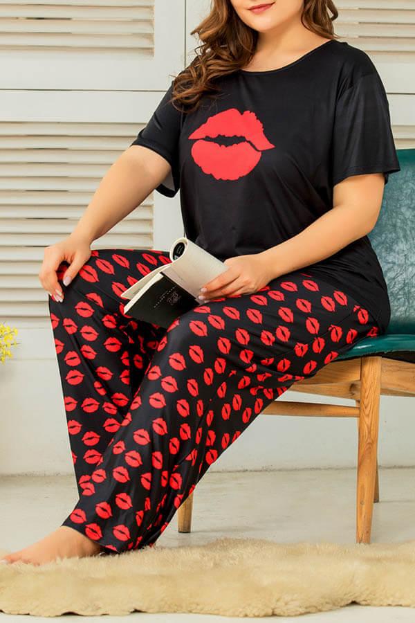 Lovely Casual Print Black Plus Size Two-piece Pants Set