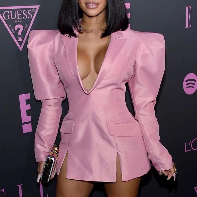 Lovely Stylish V Neck Pink Mini Dress