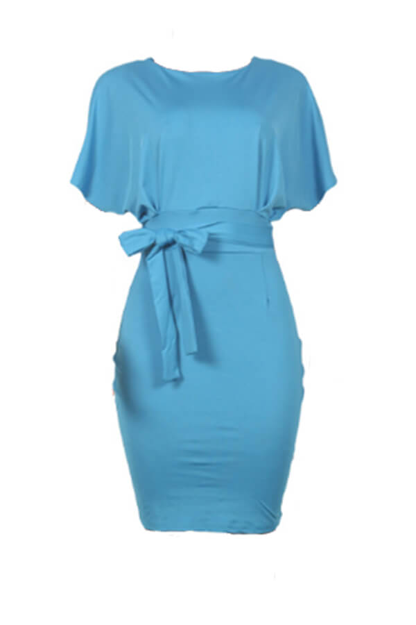 Lovely Work Lace-up Blue Knee Length Evening Dress