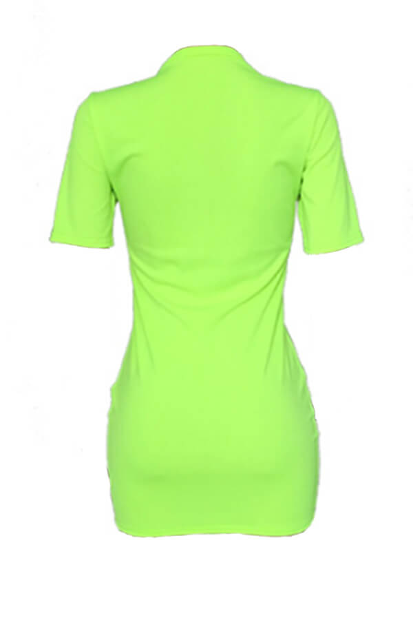 Lovely Casual Straight Print Green Mini T-shirt Dr