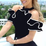 Lovely Casual Flounce Black Plus Size Blouse