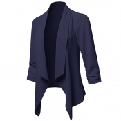 Lovely Casual Lapel Navy Blue Plus Size Blazer