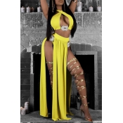 Lovely Hollow-out Yellow Two-piece Swimwear(With C