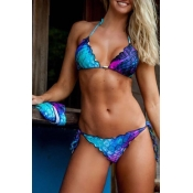 Lovely Lace-up Blue Two-piece Swimwear