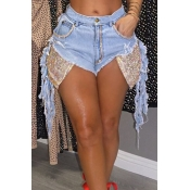 Lovely Chic Patchwork Design Baby Blue Shorts