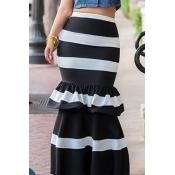 Lovely Chic Striped Black Ankle Length Cake Skirt