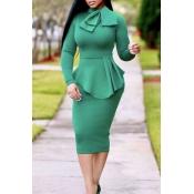 Lovely Chic Mandarin Collar Flounce Green Mid Calf