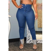 Lovely Leisure Patchwork Deep Blue Jeans