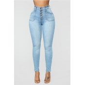 Lovely Chic Button Design Baby Blue Jeans