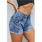 Lovely Chic Torn Edges Sky Blue Shorts