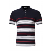 Lovely Casual Striped Navy Blue POLO Shirt