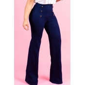 Lovely Chic Button Design Blue Jeans