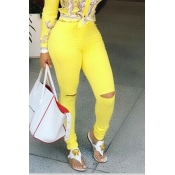 Lovely Chic Hollow-out Yellow Jeans