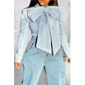 Lovely Casual Knot Design Blue Coat