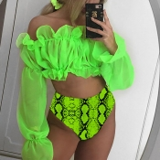 Lovely Flounce Design Green Two-piece Swimwear