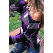 Lovely Casual Print Purple Plus Size Hoodie