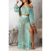 Lovely Hollow-out Cyan Beach Dress