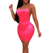 Lovely Chic Backless Pink Mini Dress