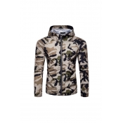 Lovely Casual Camo Print Khaki Jacket