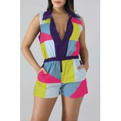 Lovely Casual Patchwork Multicolor One-piece Rompe