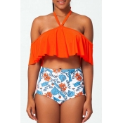 Lovely Flounce Print Orange Red Two-piece Swimsuit