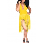 Lovely Tassel Design Yellow One-piece Swimsuit