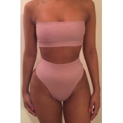 Lovely Dew Shoulder Pink Two-piece Swimsuit