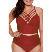 Lovely Chi Hollow-out Wine Red Plus Size Two-piece