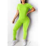 Lovely Casual Skinny Green Two-piece Pants Set