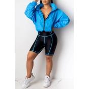 Lovely Casual Turndown Collar Zipper Design Blue T