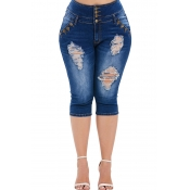 Lovely Casual Buttons Design Blue Plus Size Jeans