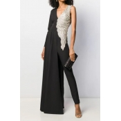 Lovely Trendy Patchwork Black Jumpsuit