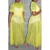 Lovely Trendy O Neck Ruffle Design Yellow Blouse