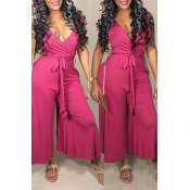 Lovely Casual Lace-up Rose Red One-piece Jumpsuit
