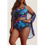 Lovely Print Deep Blue Plus Size Two-piece Swimsui