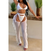Lovely Sexy Hollow-out White Two-piece Pants Set
