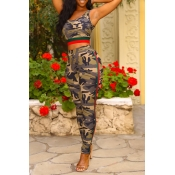 Lovely Trendy Camouflage Print Two-piece Pants Set