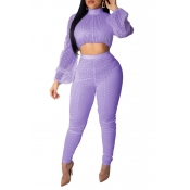Lovely Trendy Dot Print Purple Two-piece Pants Set