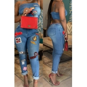 Lovely Trendy Pocket Patched Blue Two-piece Pants