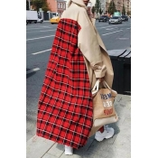 Lovely Casual Plaid Print Khaki Plus Size Coat