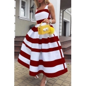 Lovely Casual Striped Print Red Mid Calf Dress