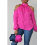 Lovely Trendy Dew Shoulder Pink Blouse