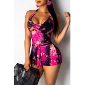 Lovely Chic Backless Print Rose Red One-piece Romp