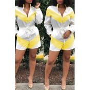 Lovely Chic Patchwork Yellow One-piece Romper