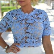 Lovely Leisure Lace Blue Short T-shirt