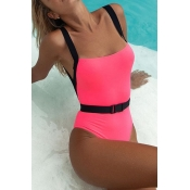 Lovely Backless Pink One-piece Swimsuit